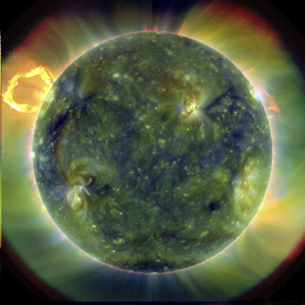 Раскрашенное солнце, чтобы увидеть разные температуры в разном цвете