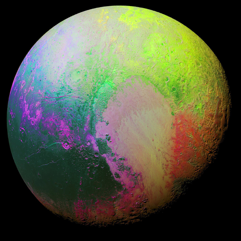 Раскрашенный Плутон, чтобы видеть различия между его регионами