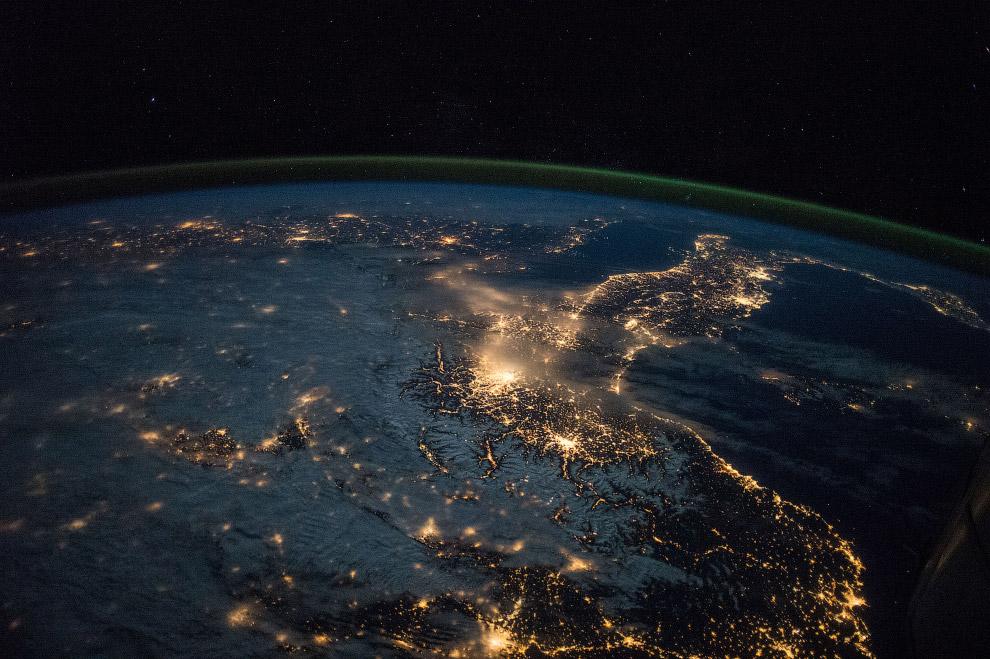 Вид на Испанию с борта МКС, 28 марта 2015 года