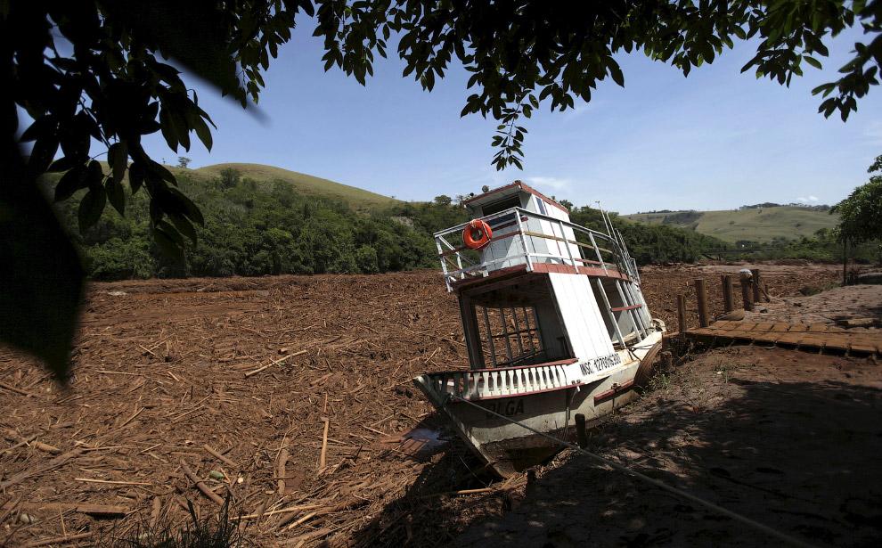 «Река» из мусора и сломанных деревьев, в «русле», где шел красный шлам