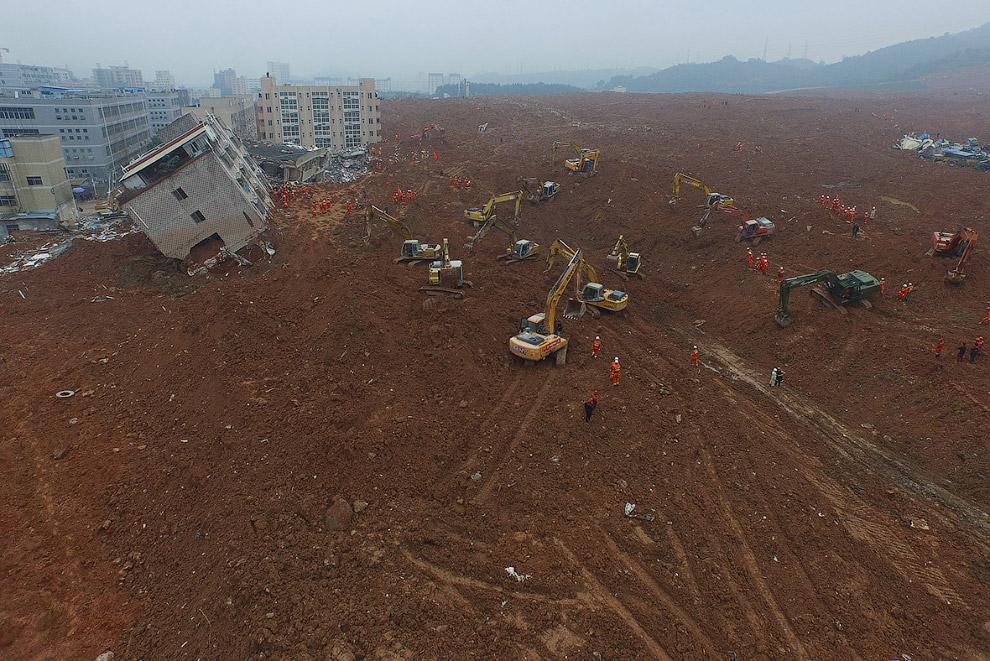 Экскаваторы и снесённые здания