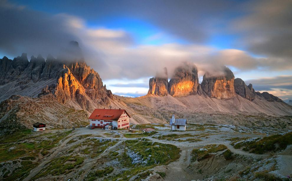 Вечер в Трэ Чиме ди Лаваредо, Доломитовые Альпы, Италия