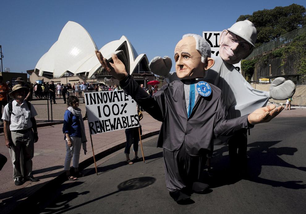 В деловом районе Сиднея по улицам ходил кукольный австралийский премьер-министр
