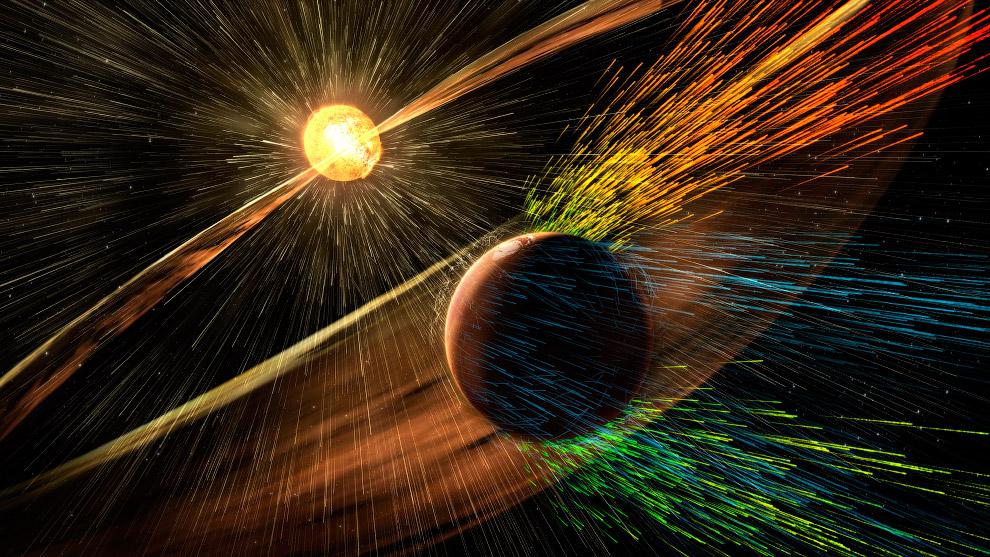 Солнечная буря ударяет Марс