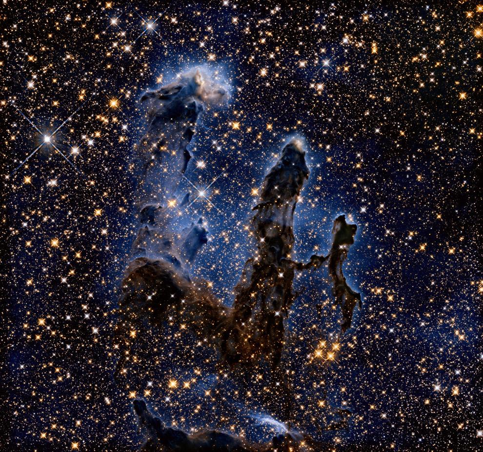 Молодое рассеянное звёздное скопление Столпы творения в созвездии Змеи в ИК-диапазоне