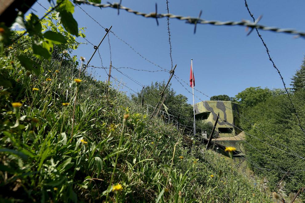 За проволокой скрывается очередной артиллерийский бункер, построенный в Швейцарии в 1937-1939 гг