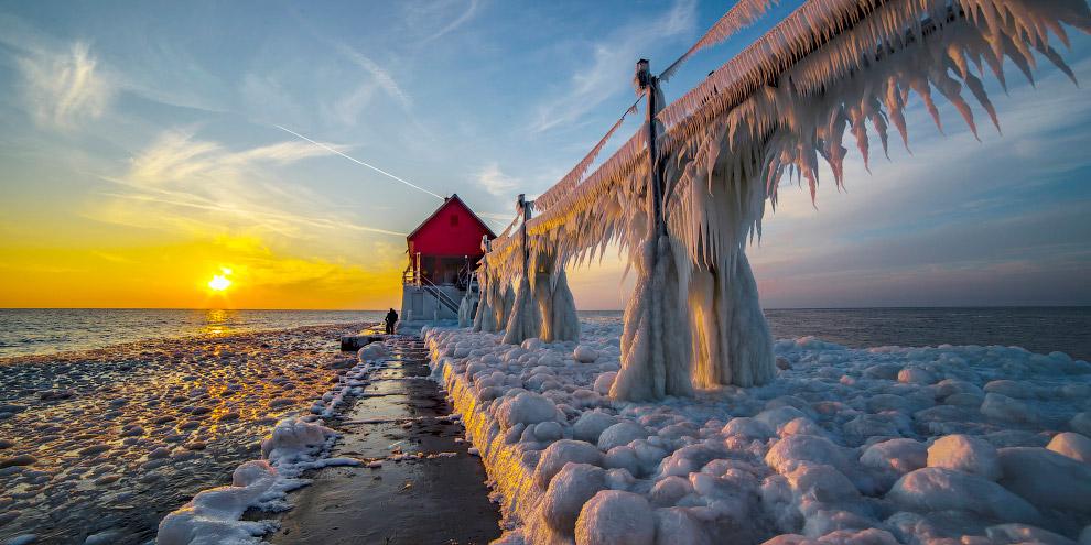 Ледяные маяки озера Мичиган