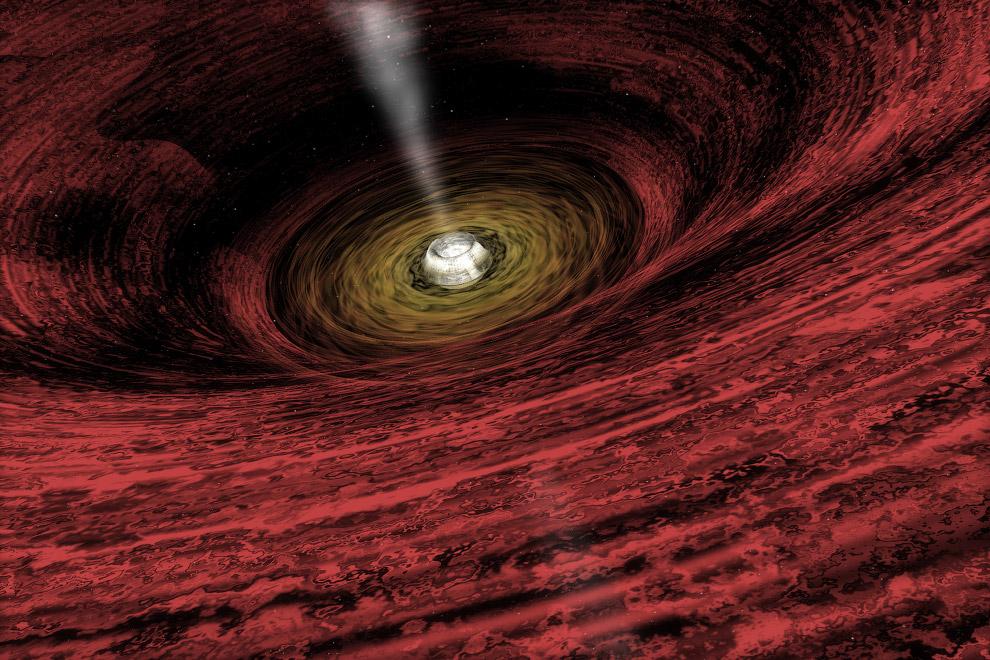 На рисунке художника изображена растущая супермассивная черная дыра