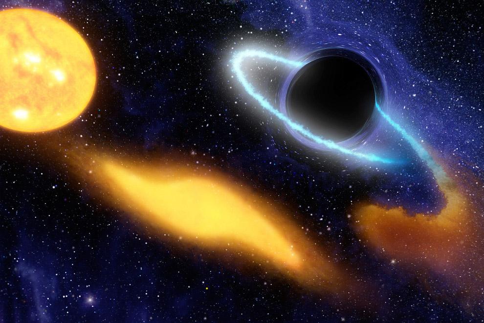 Художественное изображение черной дыры, поглощающей космическое пространство