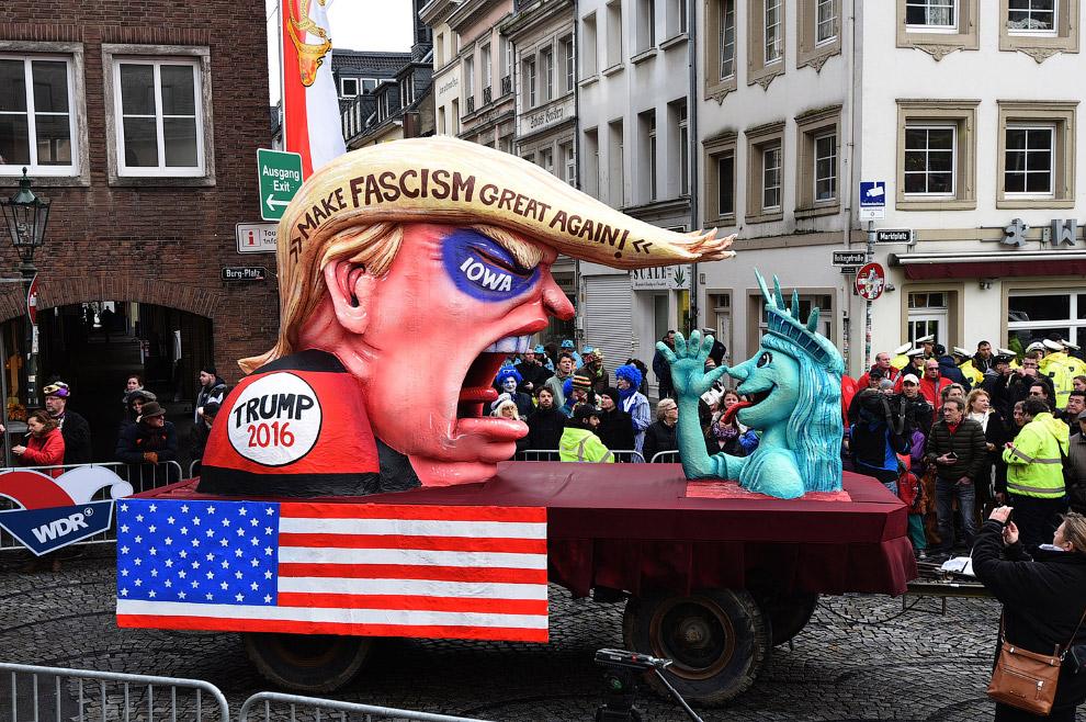 Карнавал в в Дюссельдорфе, Германи и почему-то кандидат в президенты США Дональд Трамп и Статуя Свободы