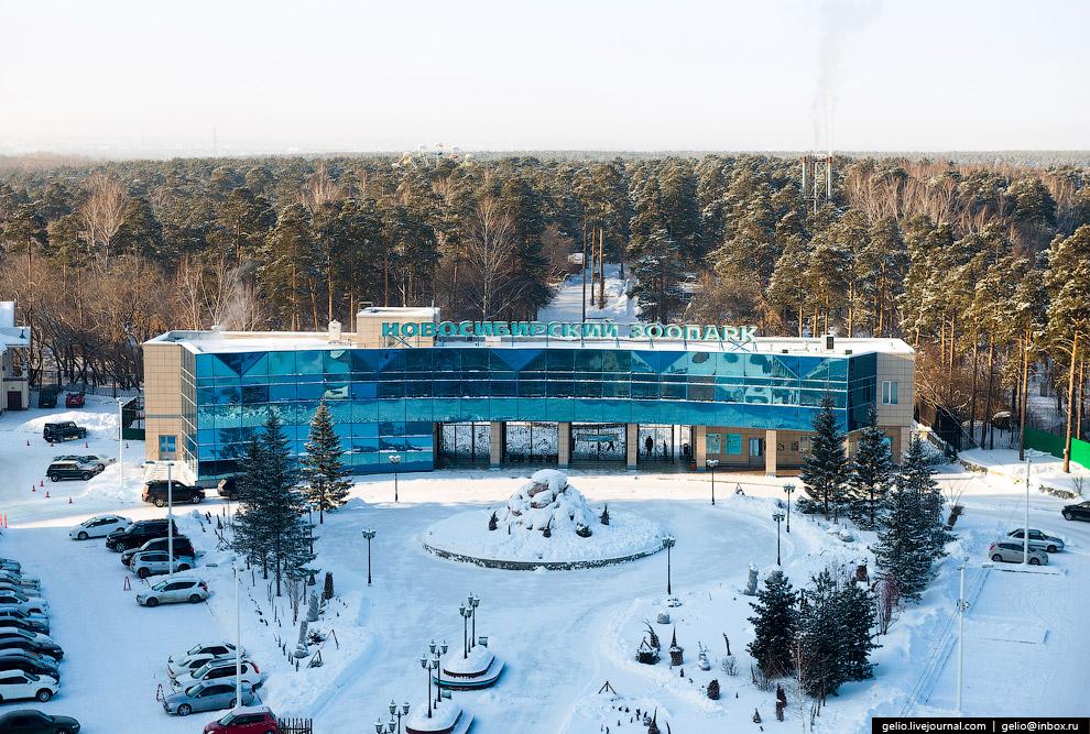 Главный вход в Новосибирский зоопарк.