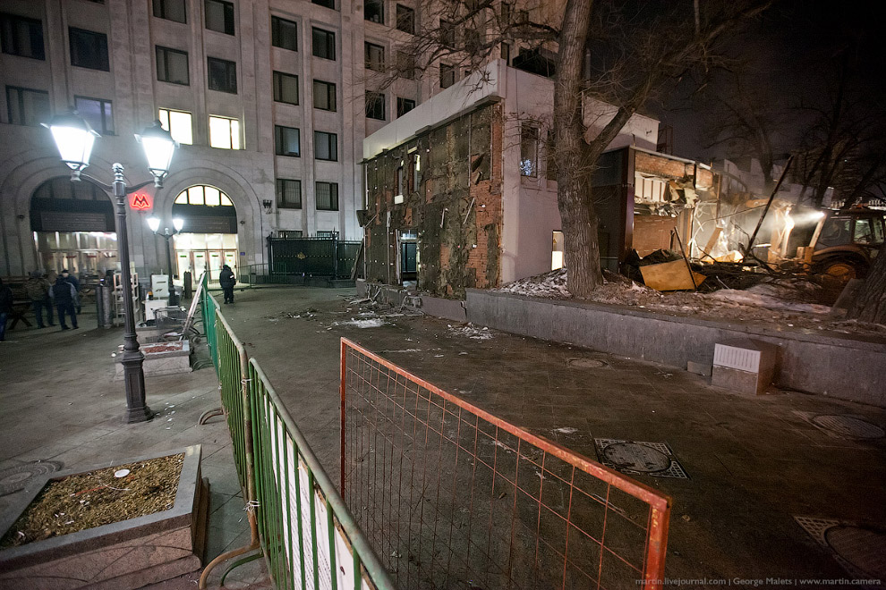 Снос торговых павильонов в Москве