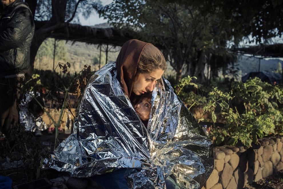 Беженцы на острове Лесбос, Греция