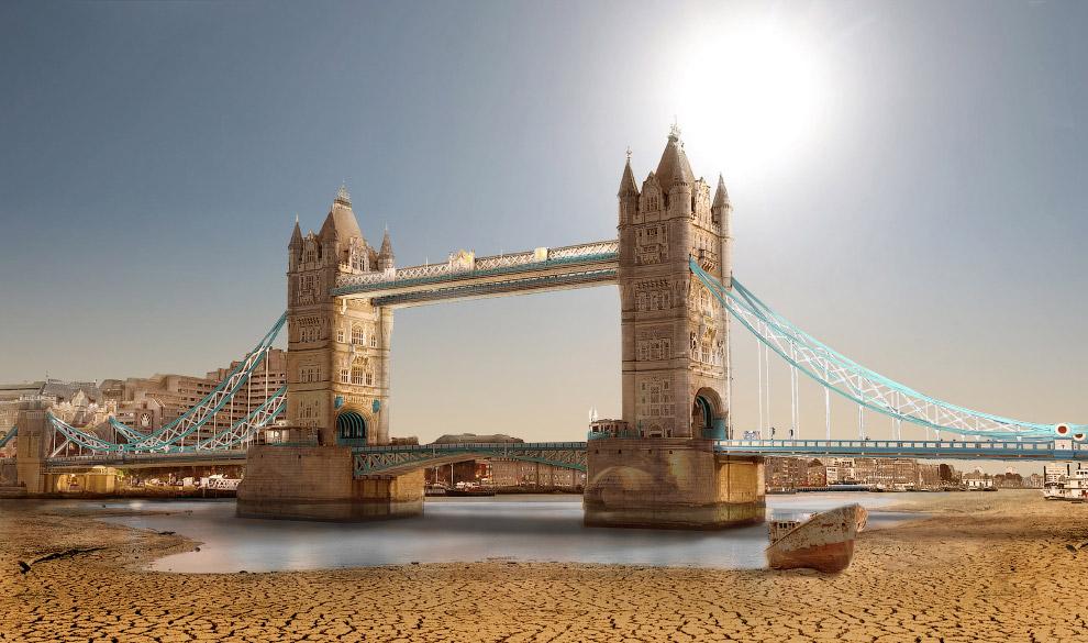 Тауэрский мост в Лондоне во время Великой засухи