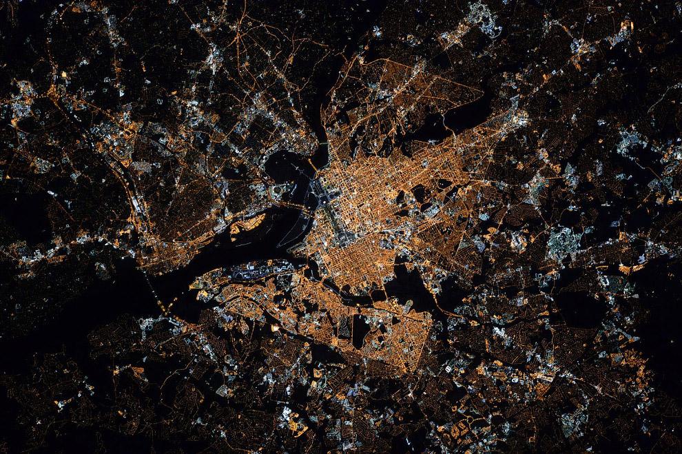 Вашингтон, округ Колумбия в ночное время.