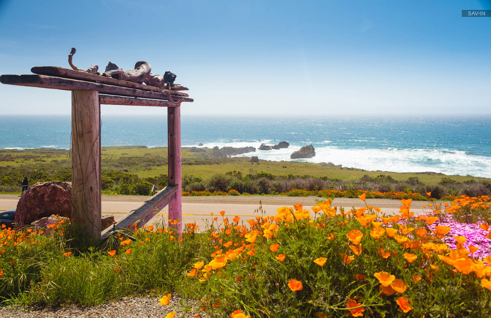 Санта-Барбара и цветущее побережью Калифорнии
