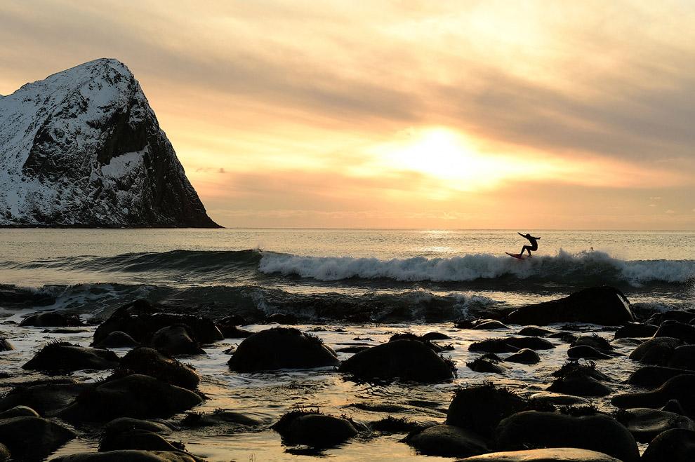 Серфинг на закате