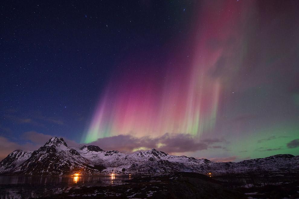 Северное сияние, Флакстад, Норвегия