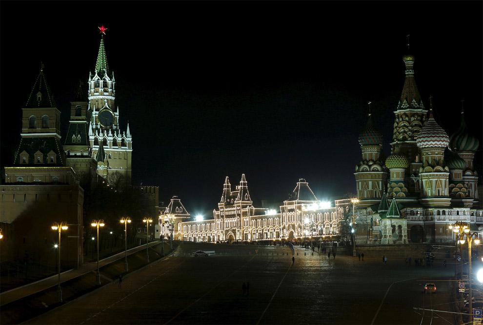 Кремль, ГУМ и Собор Василия Блаженного в Москве