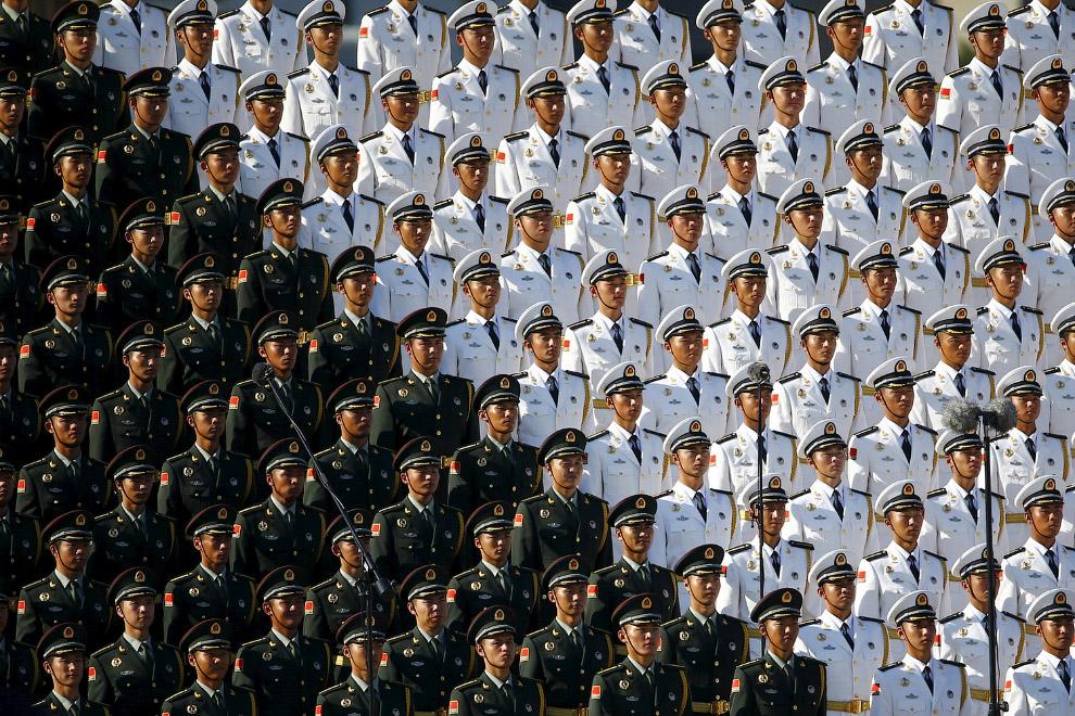 Китайский военный хор на военном параде в Пекине