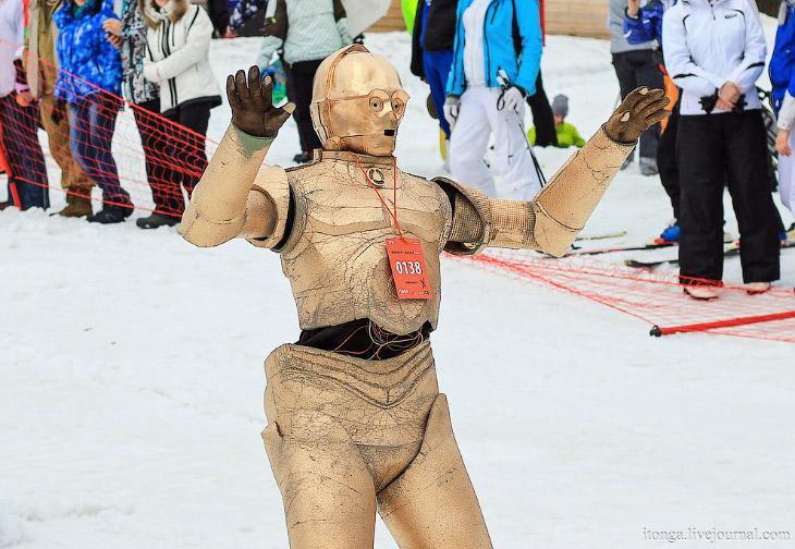Рекорд России по массовому спуску с горы