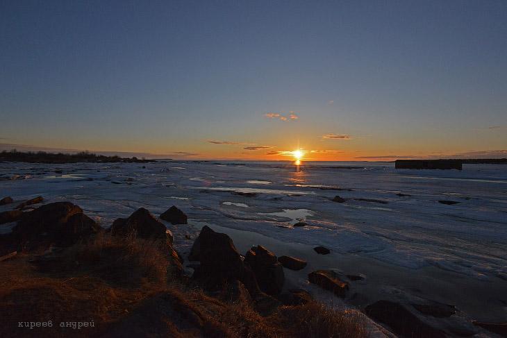 Восход солнца на Белом море.