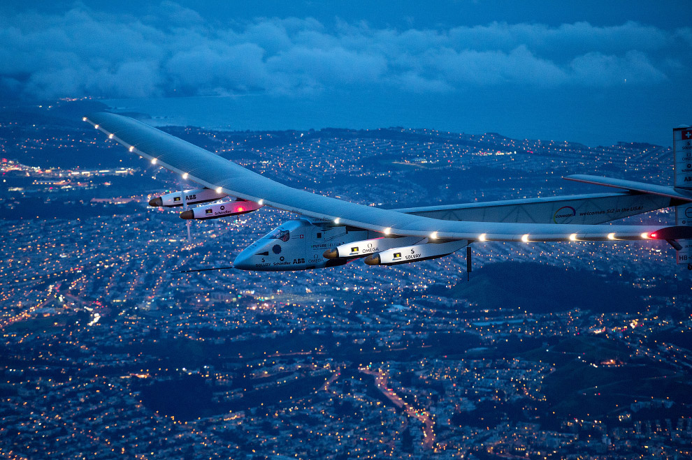 Самолёт на солнечных батареях «Солнечный Импульс-2» в Сан-Франциско