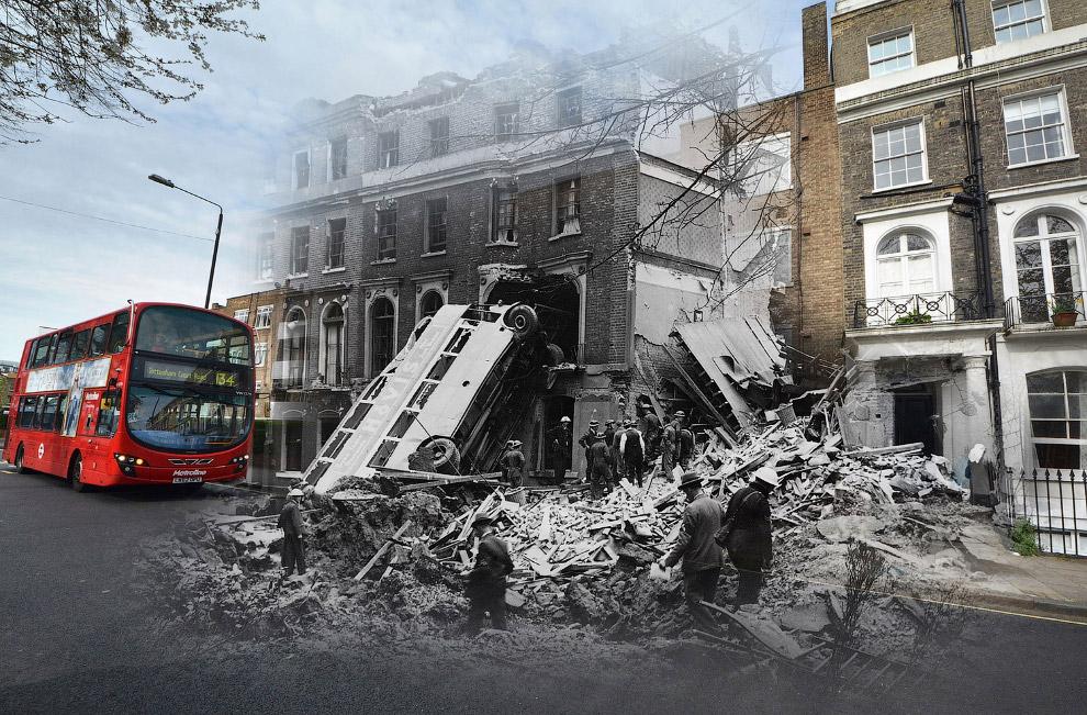 Автобус после бомбежки Лондона 9 сентября 1940 и современный автобус в 2016 году