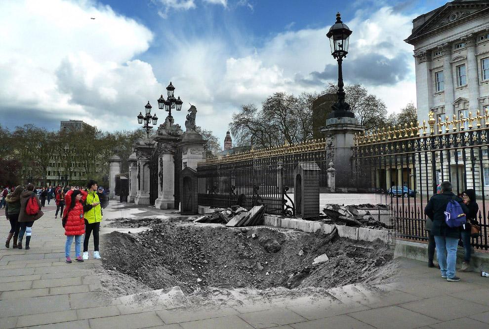 Воронка от взрыва бомбы в Букингемского дворца