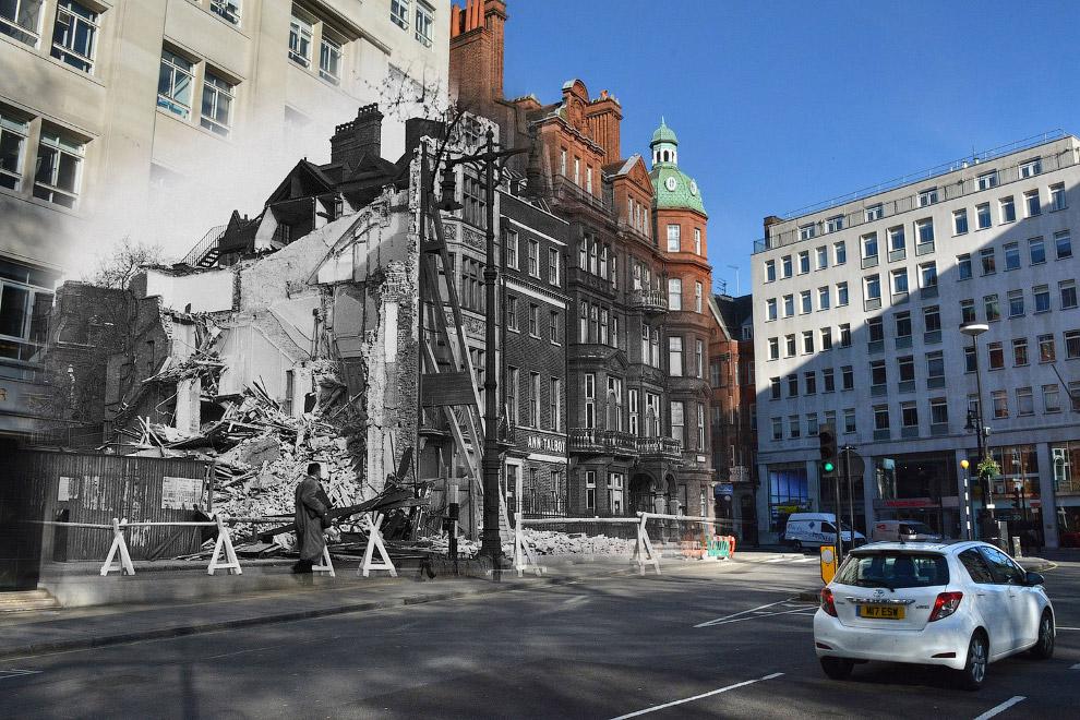 Поврежденное после авиаудара здание на площади Беркли в Лондоне и то же место 1 мая 2016