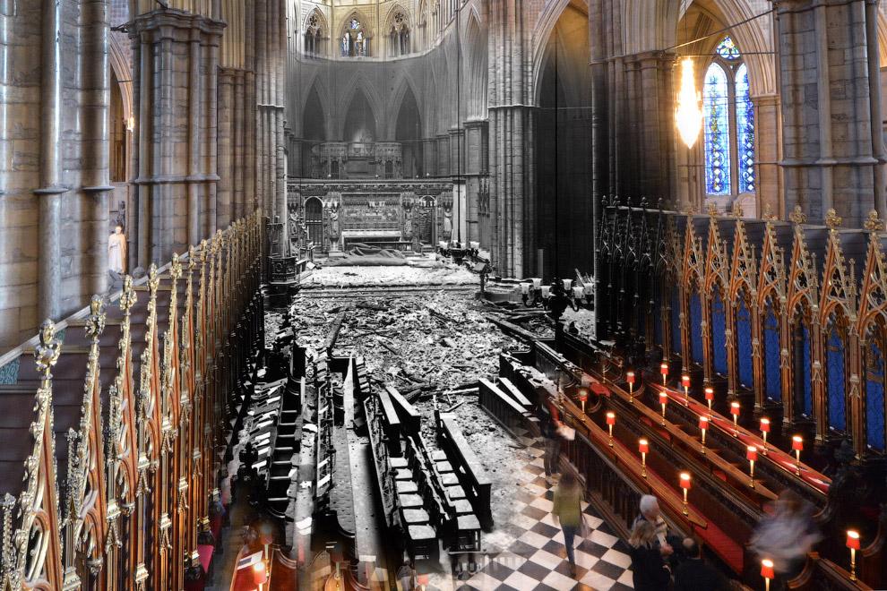Интерьер Вестминстерского аббатства после немецкой бомбардировки и снимок 13 января 2015 года