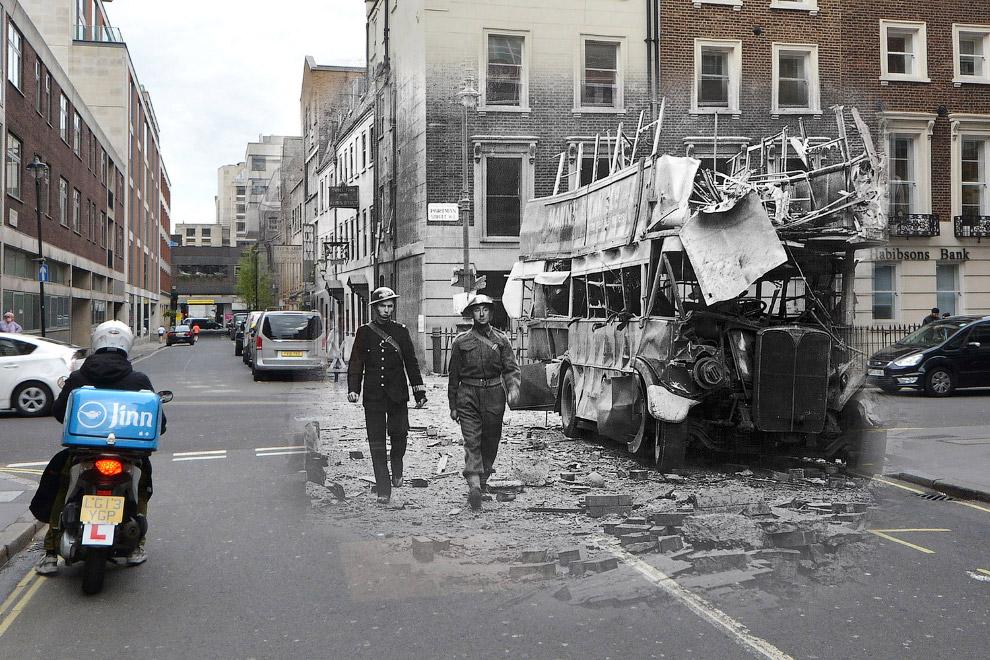 Последствия немецкого воздушного налета на Портман-стрит в Лондон, 19 сентября 1940 и то же место 21 апреля 2016
