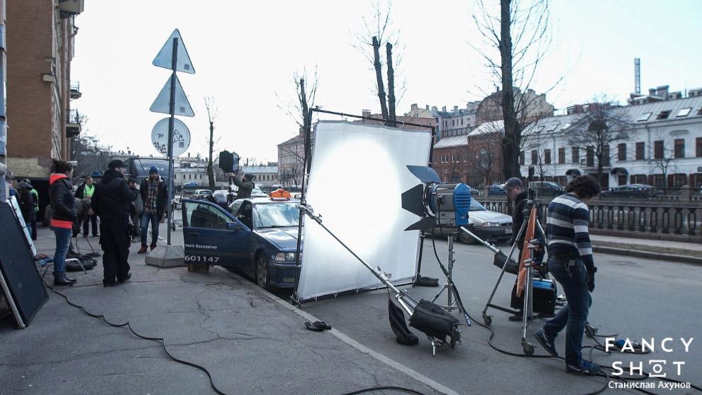 Съемки сцены с такси: