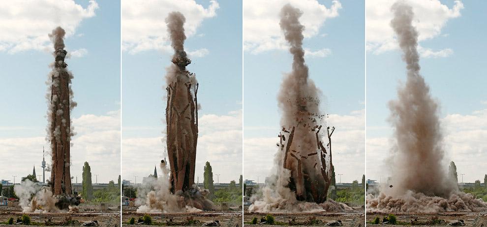 Эффектный снос дымовой трубы в Вене