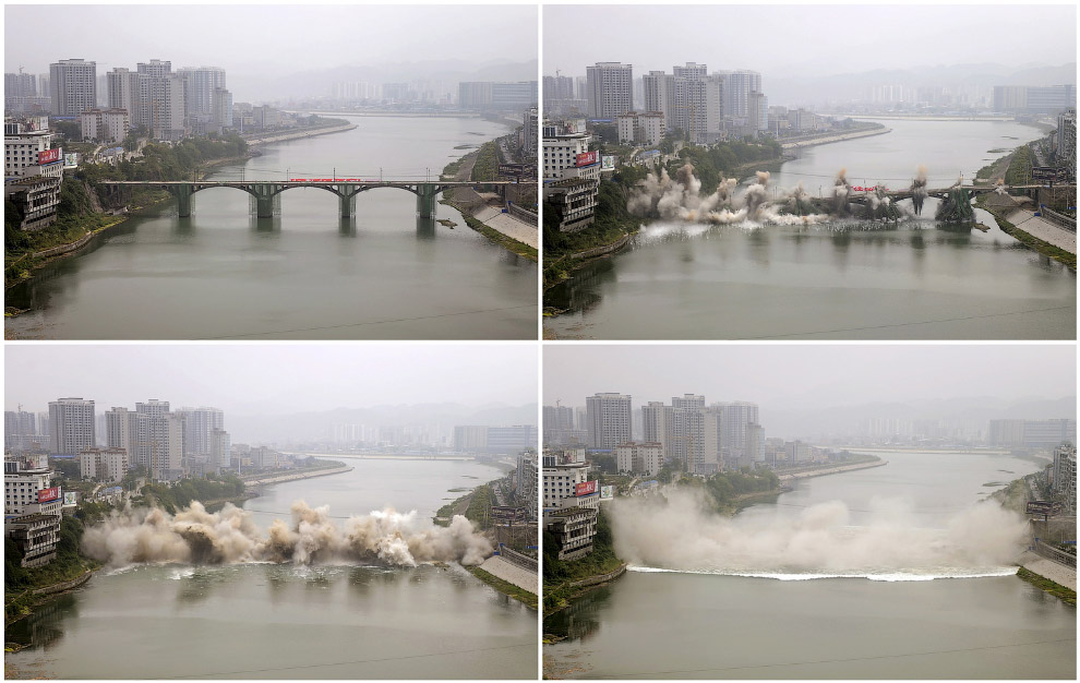 контролируемый взрыв моста в провинции Хунань, Китай