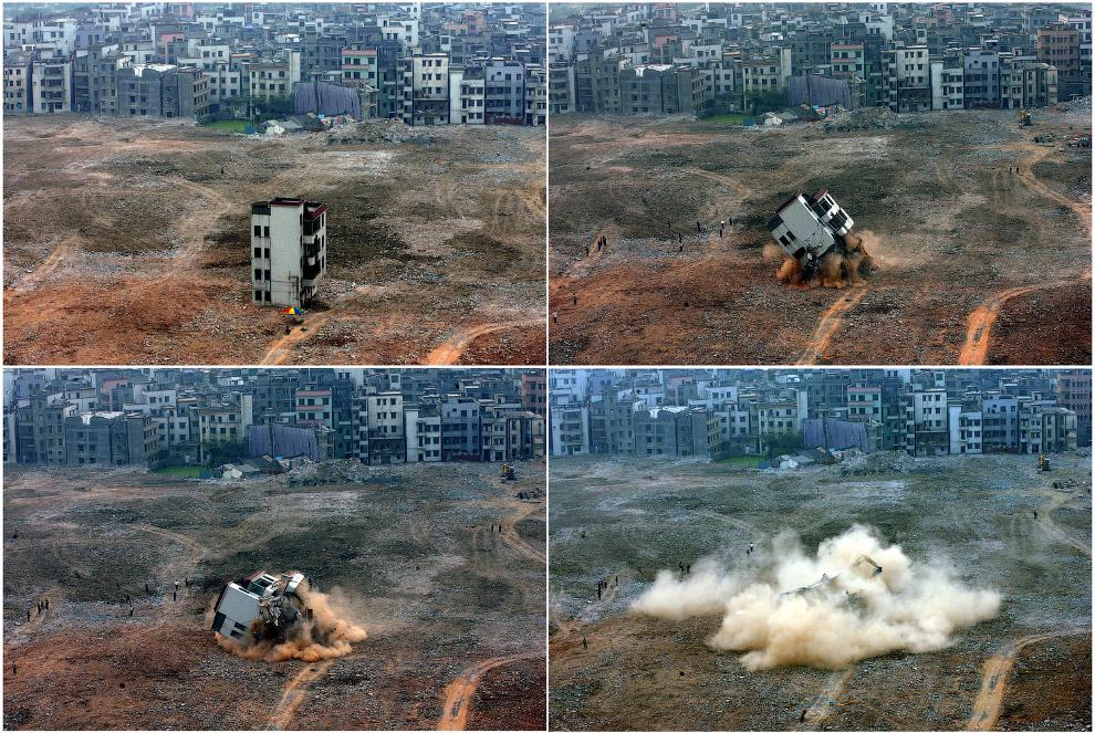 Взрыв дома-гвоздя в Гуанчжоу в провинции Гуандун, Китай