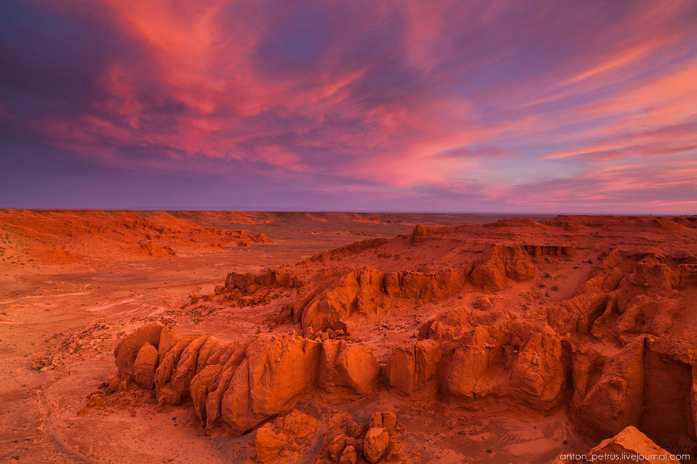 Пылающие скалы Баянзаг в пустыне Гоби