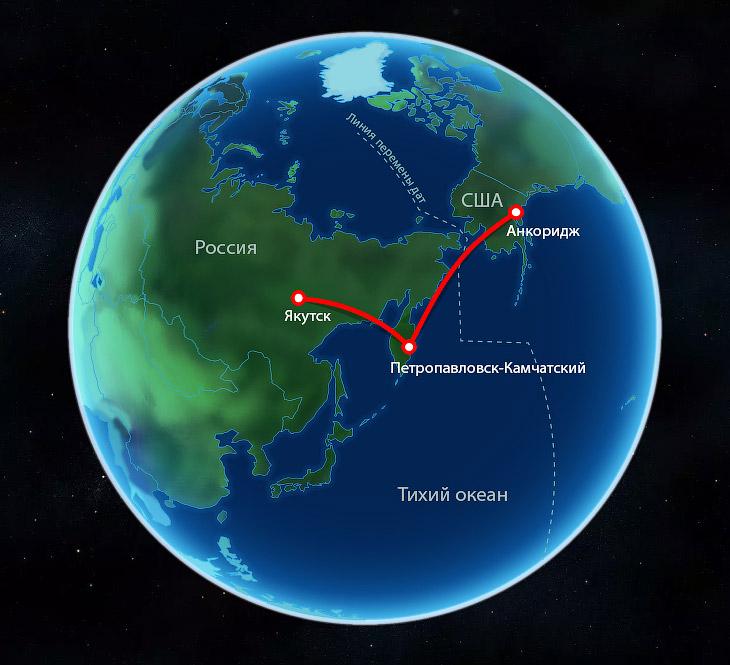 Линия перемены дат. Перелёт с Камчатки на Аляску через Тихий океан