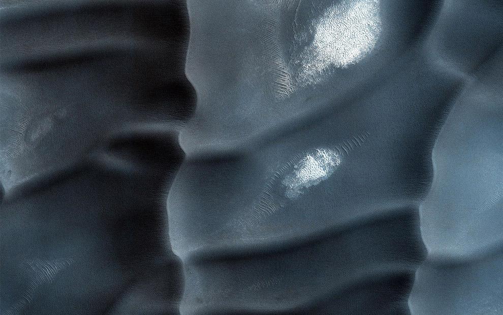 Песчаные дюны на Марсе в районе Olympia Undae