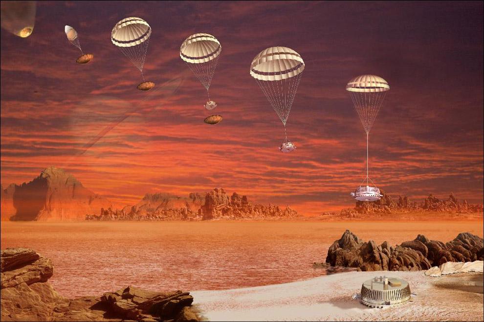 Посадка зонда Гюйгенс на спутник Сатурна Титан