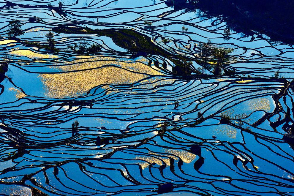 Террасы в провинции Юньнань на юго-западе Китая