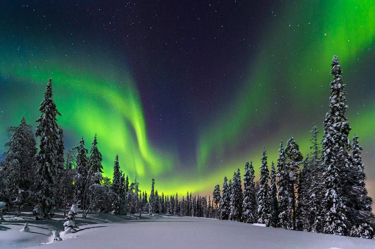 Северное сияние в национальном парке на севере Финляндии