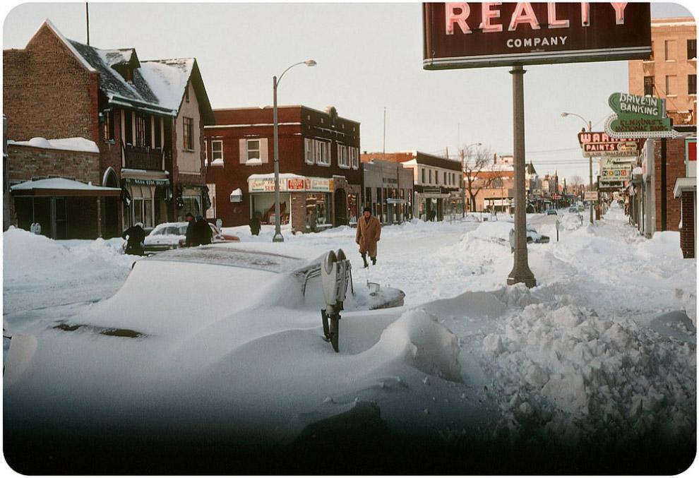 Снегопад в Куинсе, Нью-Йорк, 1967 год.