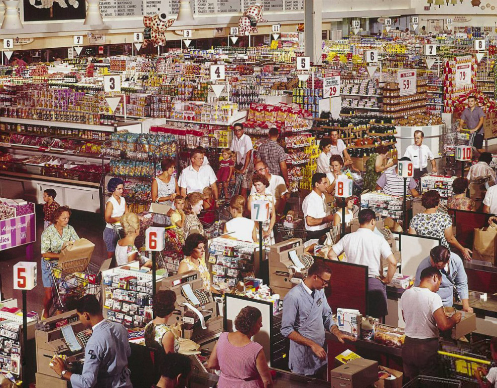 Supermarket w mieście Rockville, Maryland, 1964.
