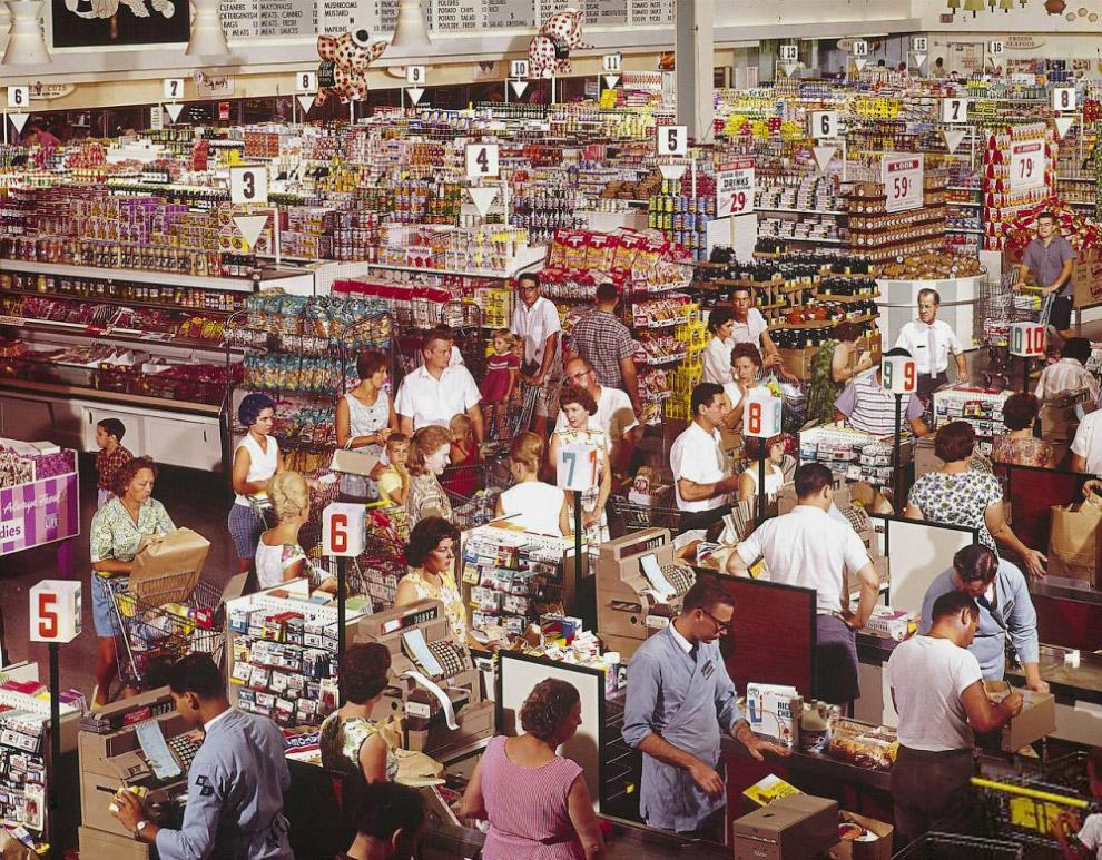 Супермаркет в городке Роквилл, штат Мэриленд, 1964 год.