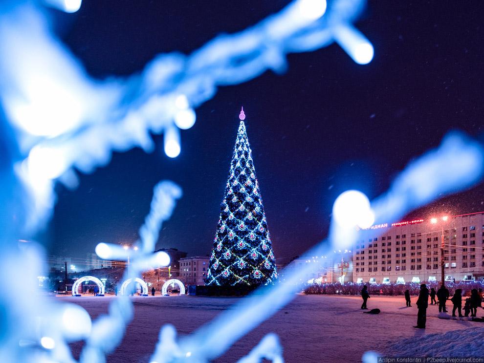 Новогодняя елка на площади Пять углов.