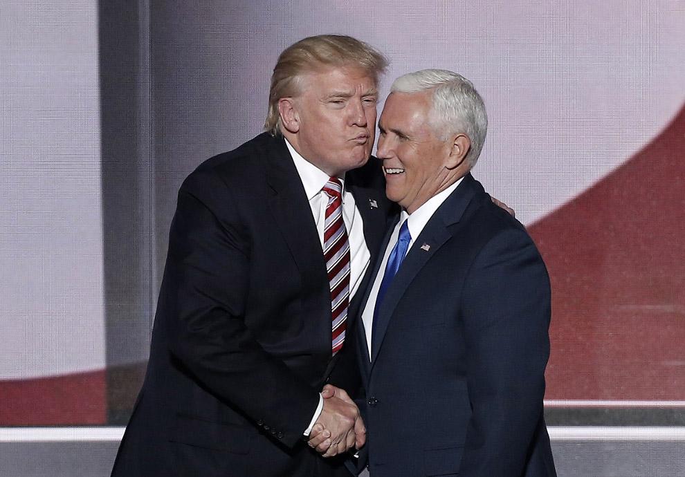 Трамп и кандидат в вице-президенты от Республиканской партии Майка Пенс