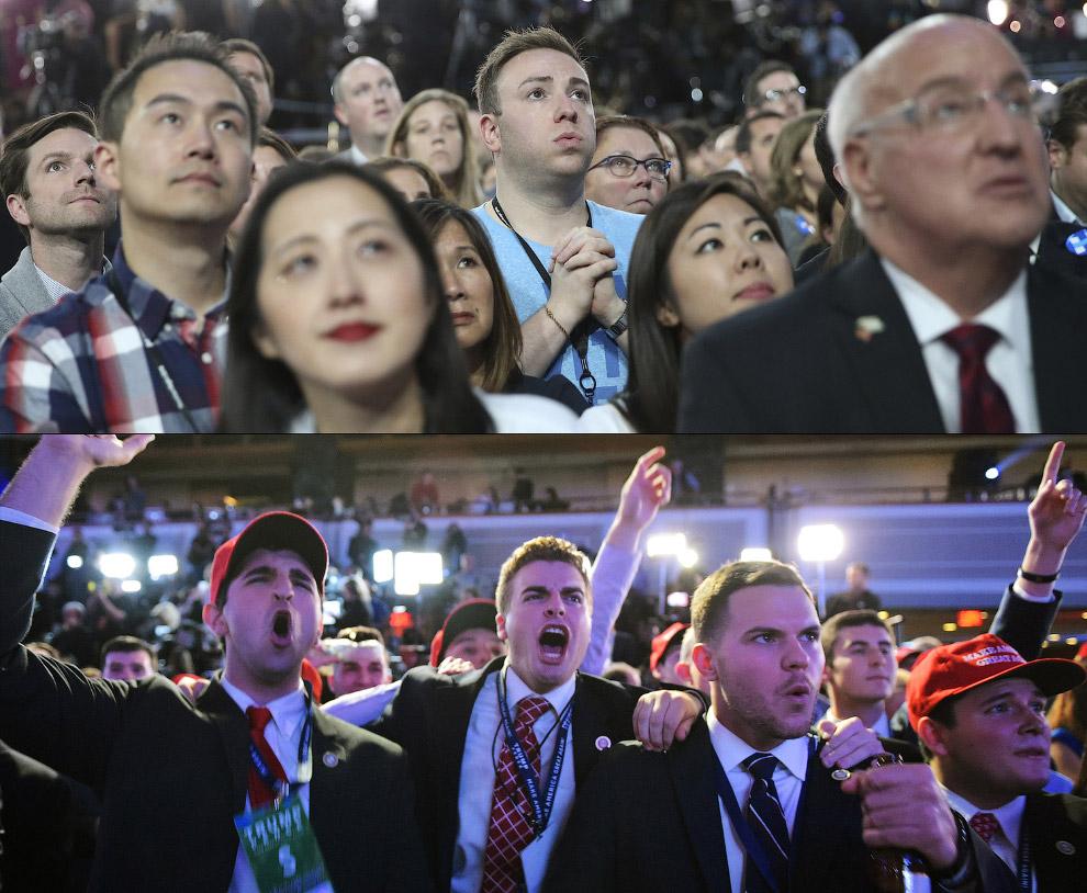 Сторонники Клинтон и Трампа на выборах президента, Нью-Йорк
