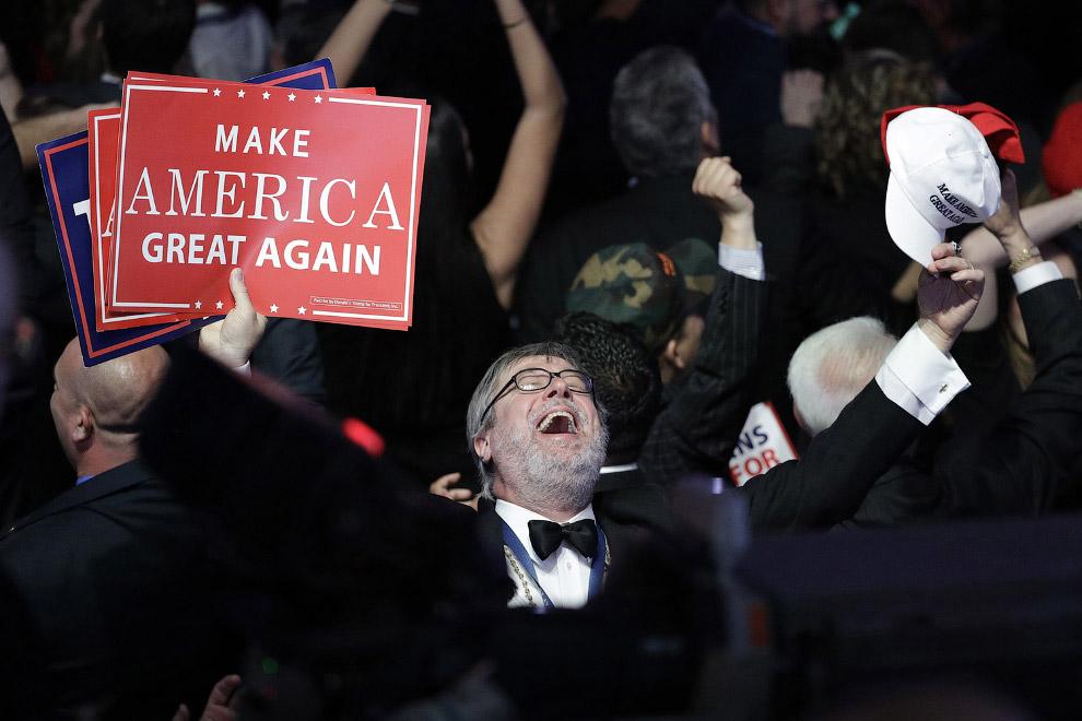 Сторонник Дональда Трампа реагирует на результаты выборов, Нью-Йорк