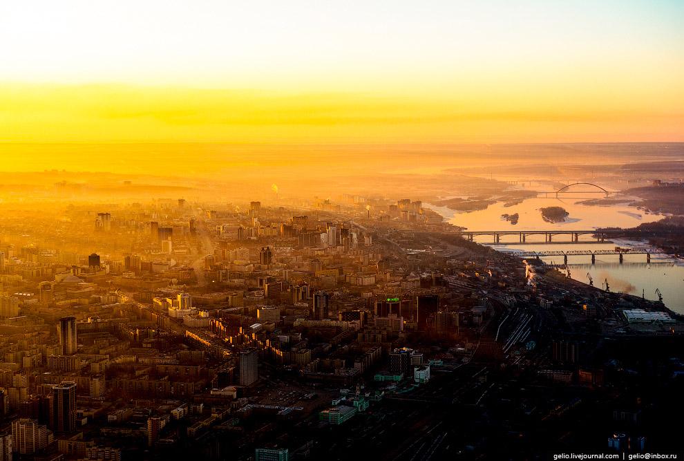 Рассвет над Новосибирском.
